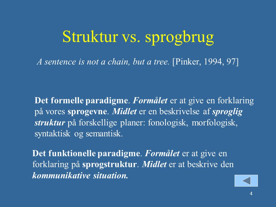 Struktur vs. sprogbrug A sentence is not a chain, but a tree. [Pinker, 1994, 97]